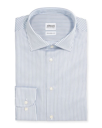 Modern-Fit Textured Stripe Dress Shirt, White/Blue