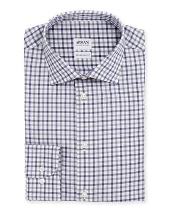 Modern Fit Bold-Check Dress Shirt, Gray