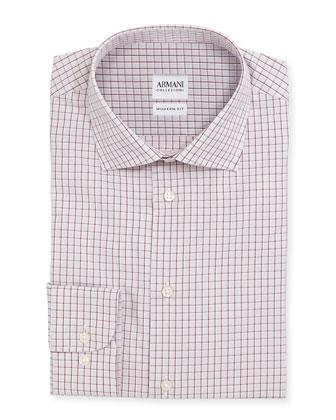 Modern-Fit Box-Check Dress Shirt, White/Red