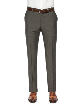 Mini-Twill Flat-Front Trousers, Charcoal