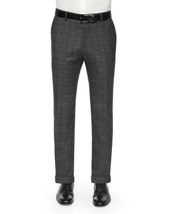 Slim-Fit Windowpane Wool Trousers, Gray