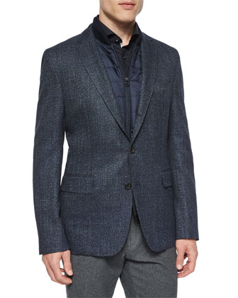 Melange Two-Button Jacket with Removable Vest, Navy