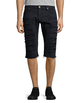 Antique-Wash Distressed Cutoff Shorts, Navy