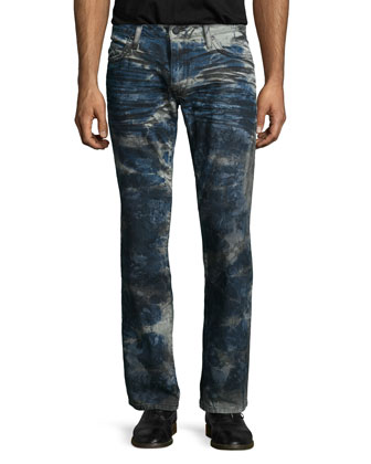 Coated Paint-Splatter Denim Jeans, Blue Pattern