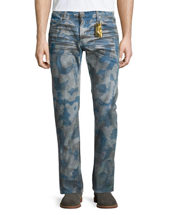 Cloud-Pattern Distressed Denim Jeans, Light Blue