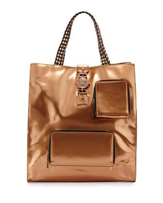 Men's Metallic Leather Tote Bag, Auburn
