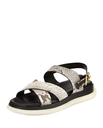 Men's Leather Snake-Print Sandal, Stone/Gold