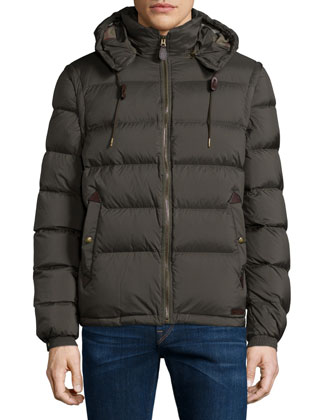 Basford Puffer Jacket with Removable Hood, Olive