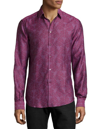 Printed Woven Sport Shirt, Bordeaux