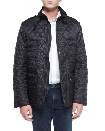 Russell Diamond-Quilted Field Jacket, Black