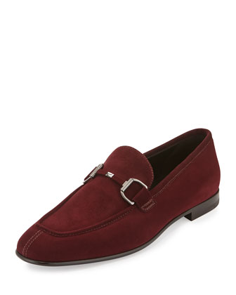 Cannes Suede Bit-Strap Loafer, Burgundy