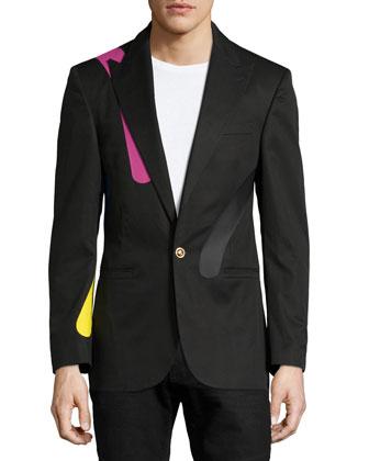 Long-Sleeve One-Button Printed Blazer, Black