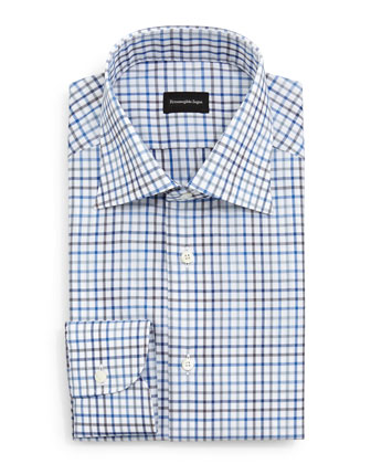 Box Check Dress Shirt, Blue/Charcoal/White