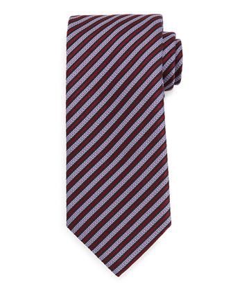 Check Two-Button Jacket, Textured Satin-Stripe Tie & Trofeo Yarn-Dye Trousers