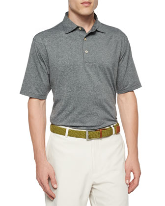 Short-Sleeve Jersey-Knit Polo Shirt, Dark Gray
