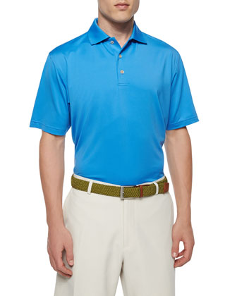Solid Short-Sleeve Jersey Polo Shirt, Blue