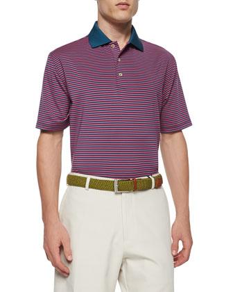 Striped Short-Sleeve Jersey Polo Shirt, Navy