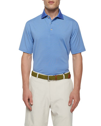Striped Short-Sleeve Jersey Polo Shirt, Blue