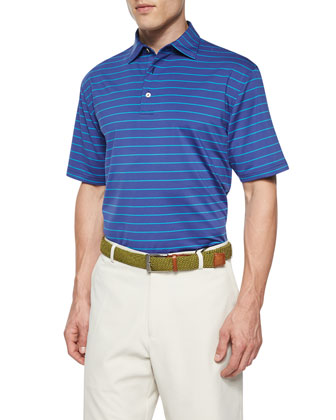 Striped Short-Sleeve Jersey Polo Shirt, Purple