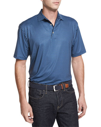 Shady-Print Jersey Polo Shirt, Navy