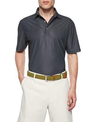 Perry Hoop-Stitch Mesh Polo Shirt, Black