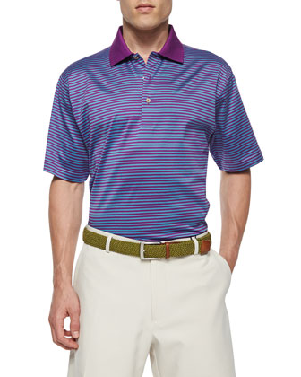 Classic Striped Lisle-Knit Polo Shirt, Purple