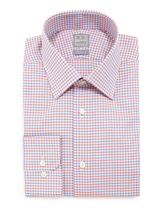 Shadow-Check Woven Dress Shirt, Blue/Orange