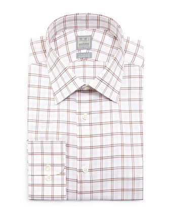 Windowpane Woven Dress Shirt, Brown/Pink