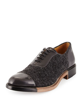 The Smythe, Wool & Leather Cap Toe Oxford, Carbon