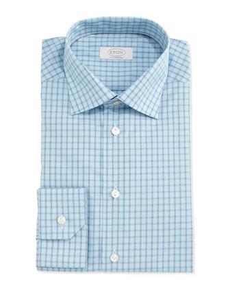 Contemporary-Fit Box-Check Dress Shirt, Aqua