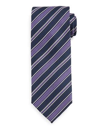 Grenadine Striped Tie, Blue