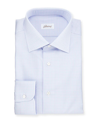 Soft Plaid Woven Dress Shirt, Blue/Lavender