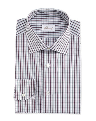 Shadow-Check Woven Dress Shirt, Gray/Blue