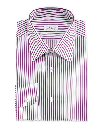 Textured Bengal-Stripe Woven Dress Shirt, White/Purple