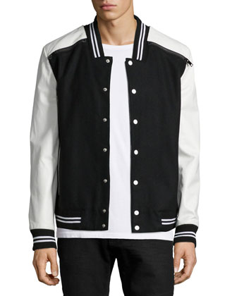 Philip Mix-Media Varsity Jacket, Black/White
