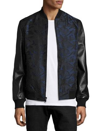 Bret Camo-Print Mixed Media Jacket, Black
