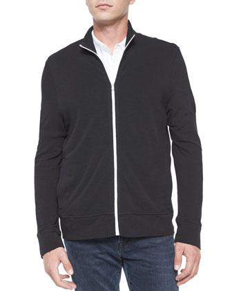 Full-Zip Slub Knit Jacket, Black