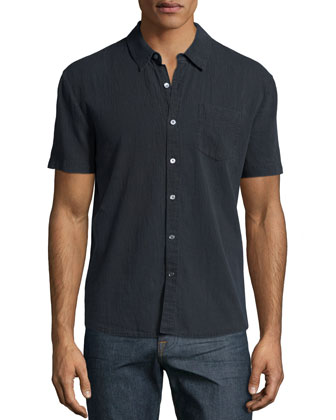 Carbon Short-Sleeve Woven Shirt, Charcoal