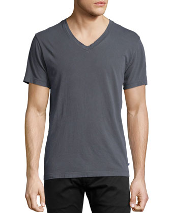 V-Neck Cotton Tee, Dark Gray