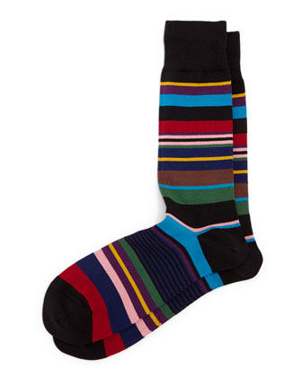 Bright Striped Socks, Black
