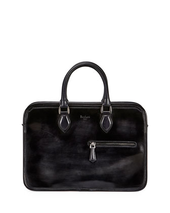 Single-Zip Leather Briefcase, Smoke