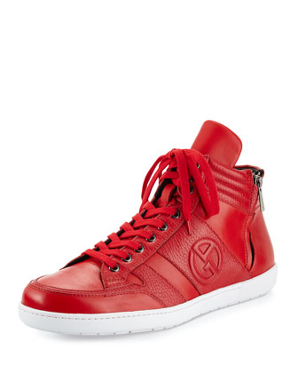Caricoa Leather High-Top Sneaker, Red