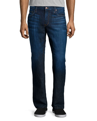 Lino Linen-Blend Denim Jeans, Dark Blue