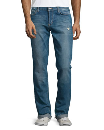 Brixton Distressed Straight-Leg Denim Jeans, Light Blue