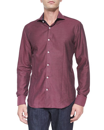 Solid Jacquard Woven Sport Shirt, Wine
