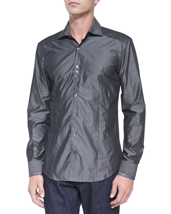 Solid Long-Sleeve Sport Shirt, Dark Gray