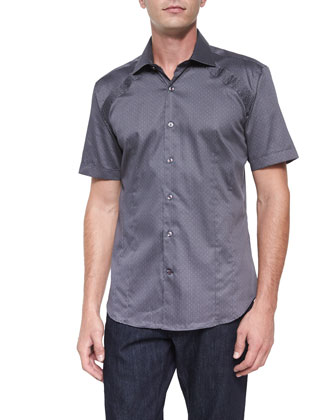 Printed Short-Sleeve Woven Shirt, Gray Pattern