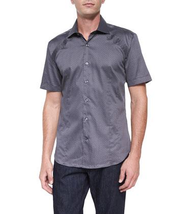 Printed Short-Sleeve Woven Shirt, Gray Pattern
