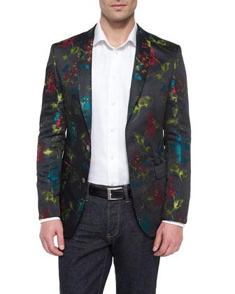 Floral-Print Two-Button Blazer, Black