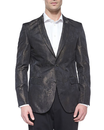 Printed Jacquard Two-Button Blazer, Black/Gold